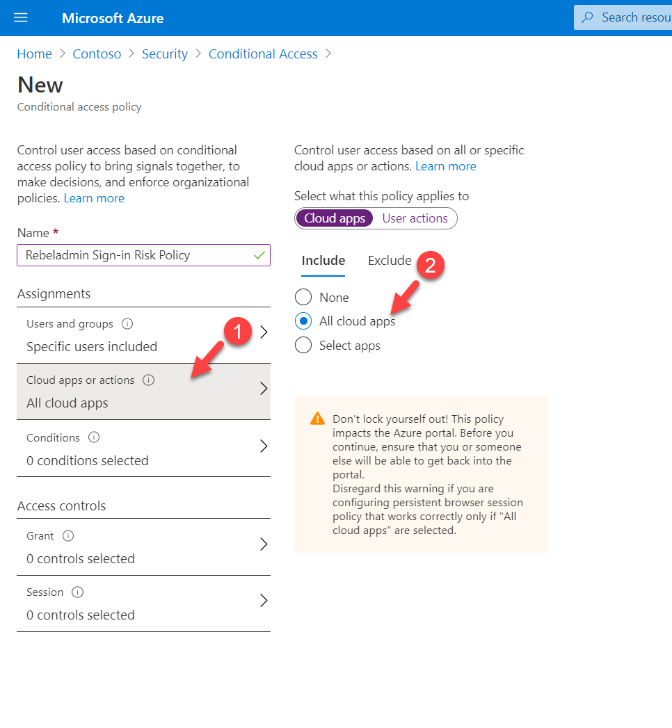 Select cloud apps or actions for the conditional access policy