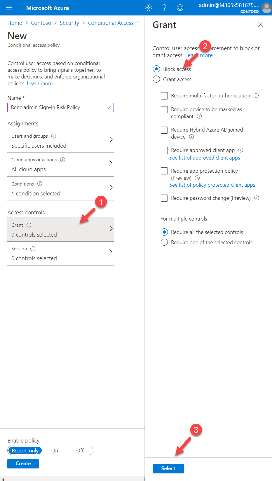 Conditional access policy access control settings