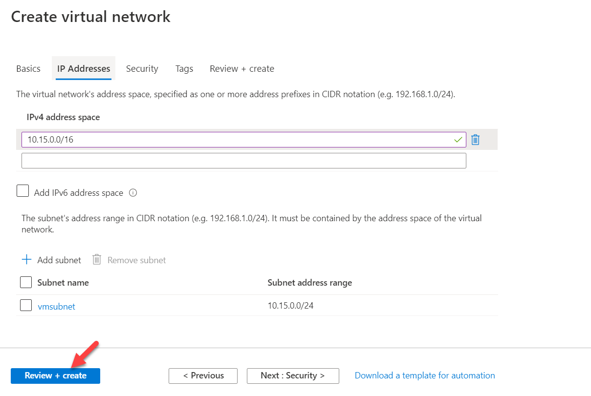 Proceed with Azure Virtual Network Creation