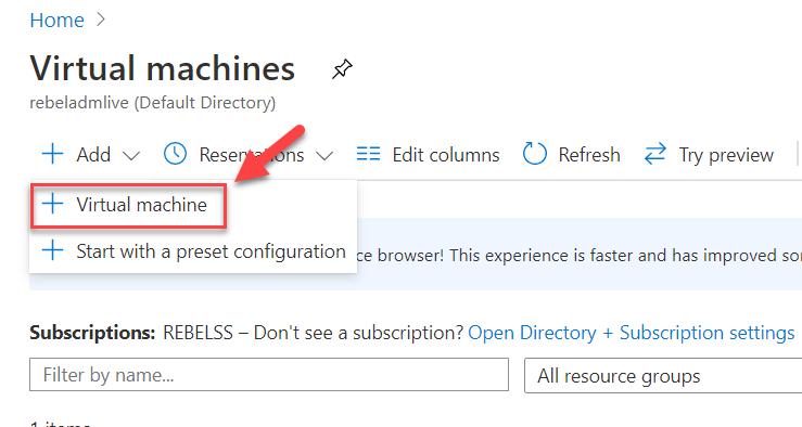 Add new Azure Virtual Machine Option