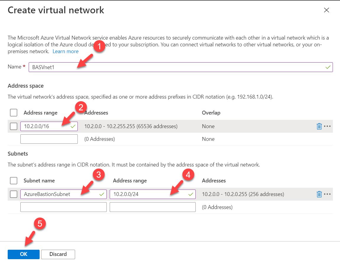Azure Bastion Virtual Network Settings