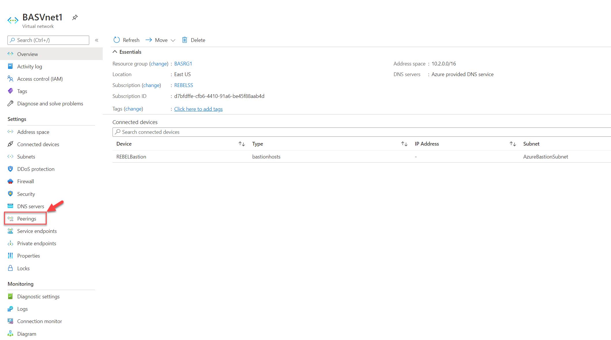Azure Virtual Network Peering Option