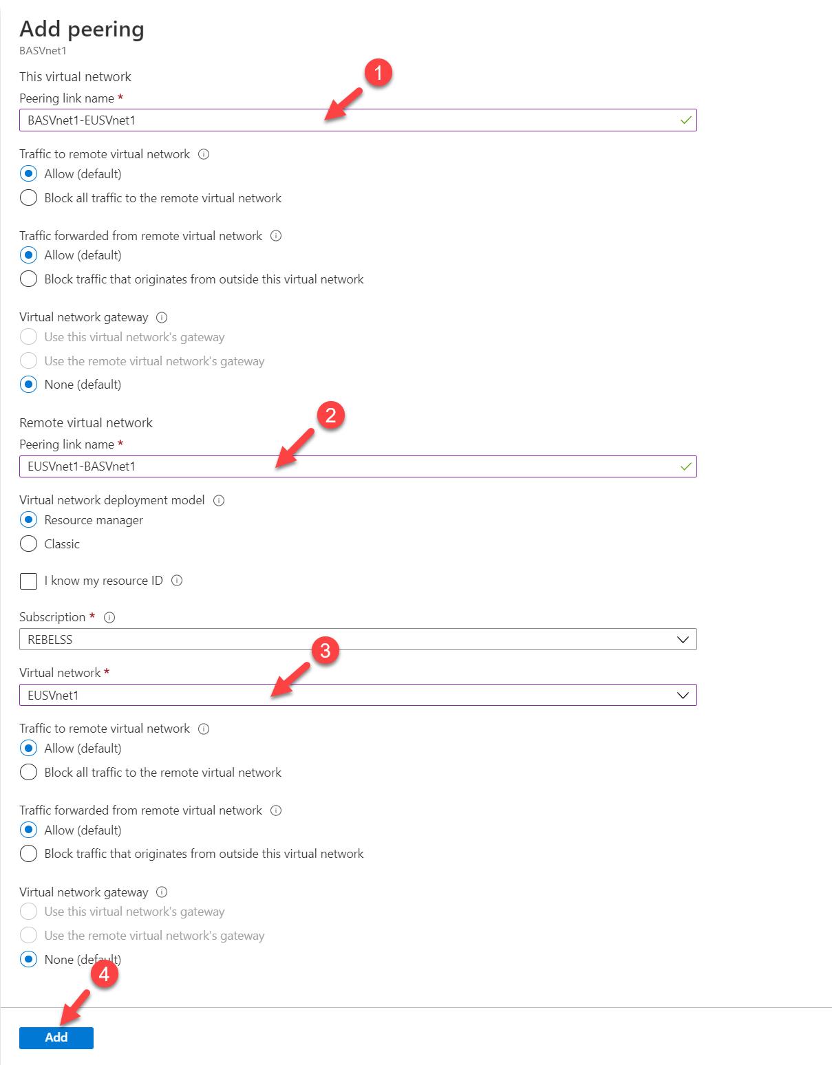 Azure Virtual Network Peering Settings