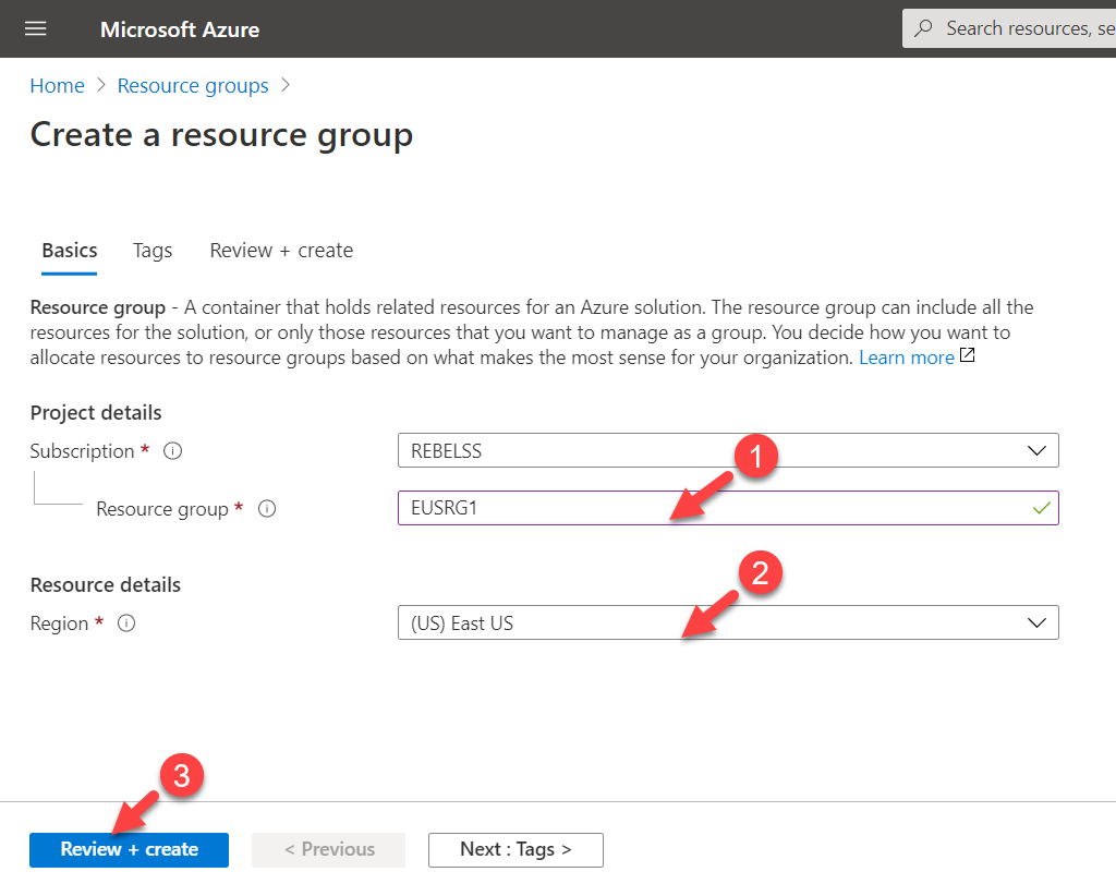 Azure Resource Group Settings