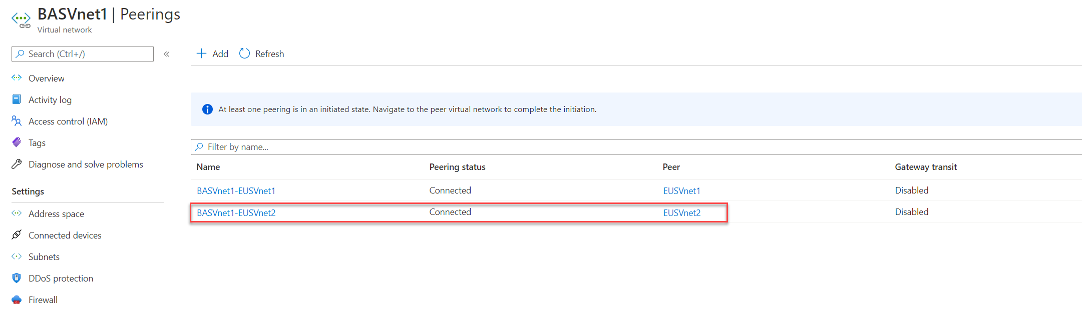 Azure VNet Peering from BASVnet1 to EUSVnet2