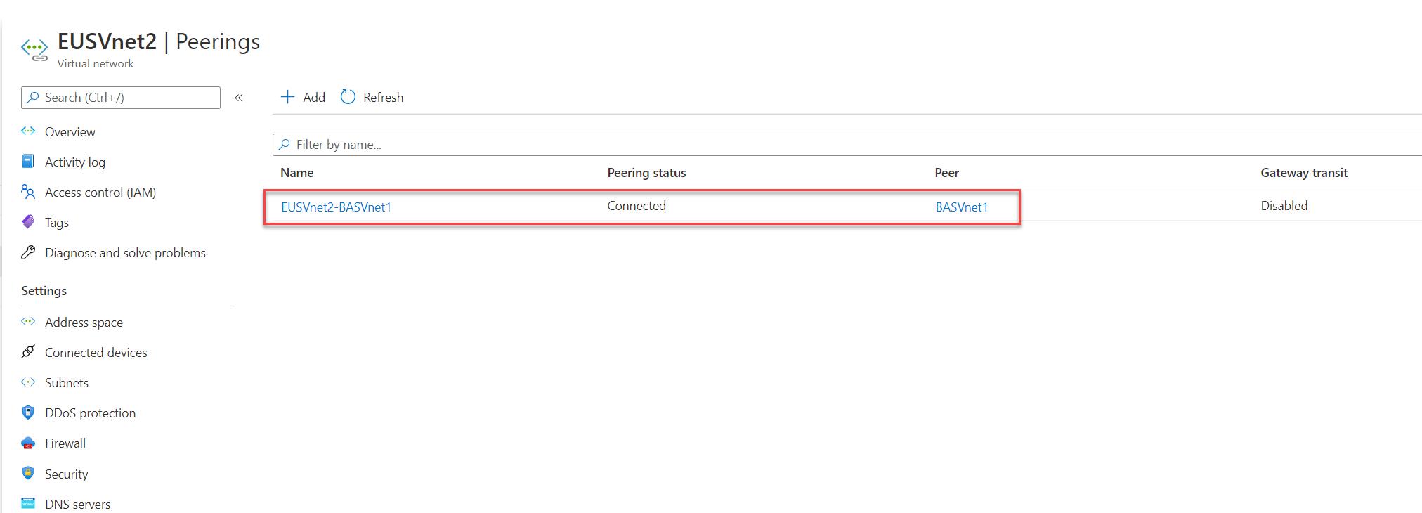 Azure VNet Peering from EUSVnet2 to BASVnet1