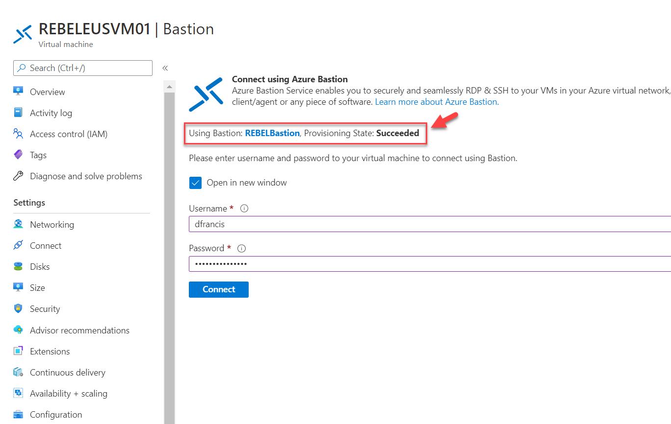Connect to Azure VM using Azure Bastion