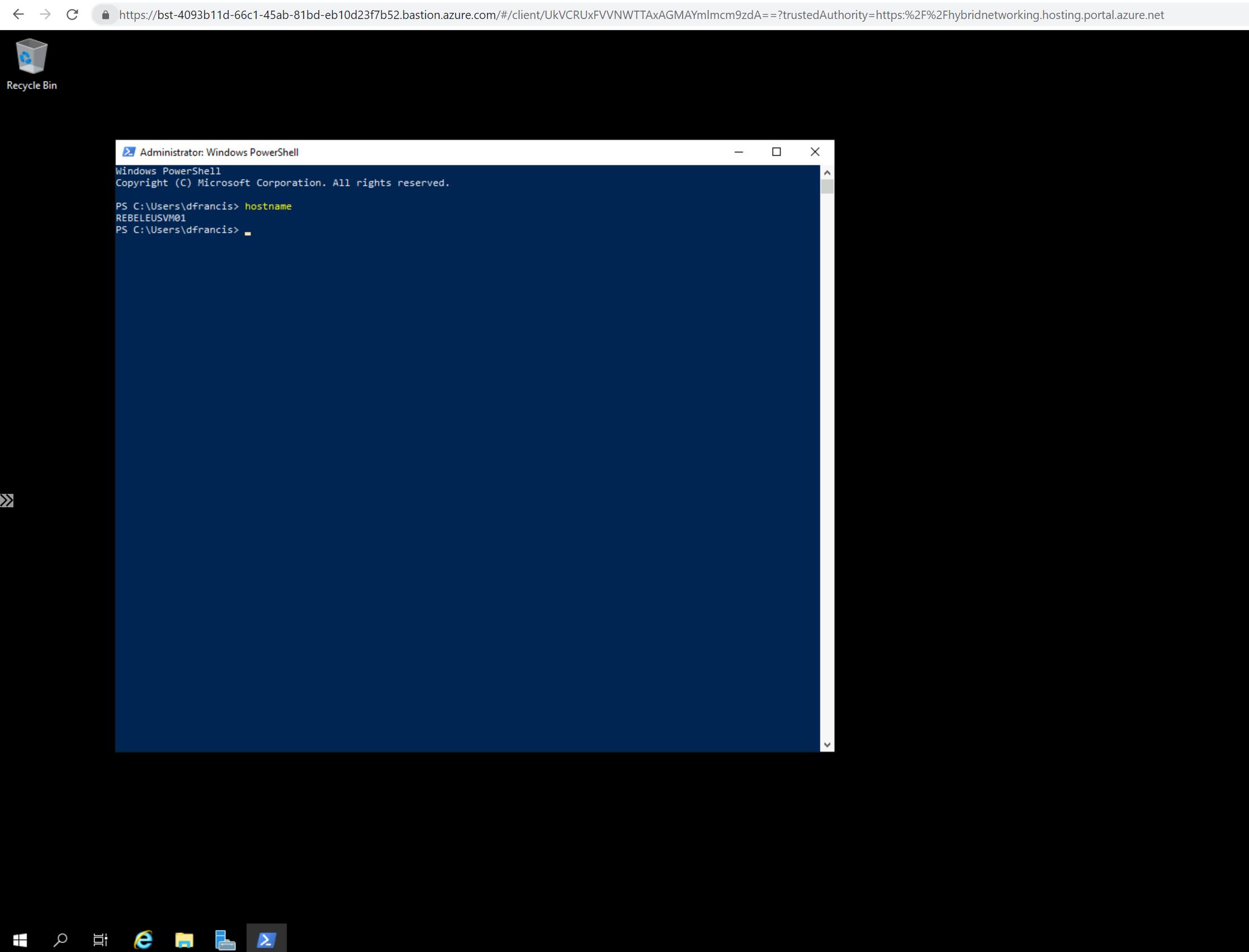 Azure Bastion Connection to Azure VM