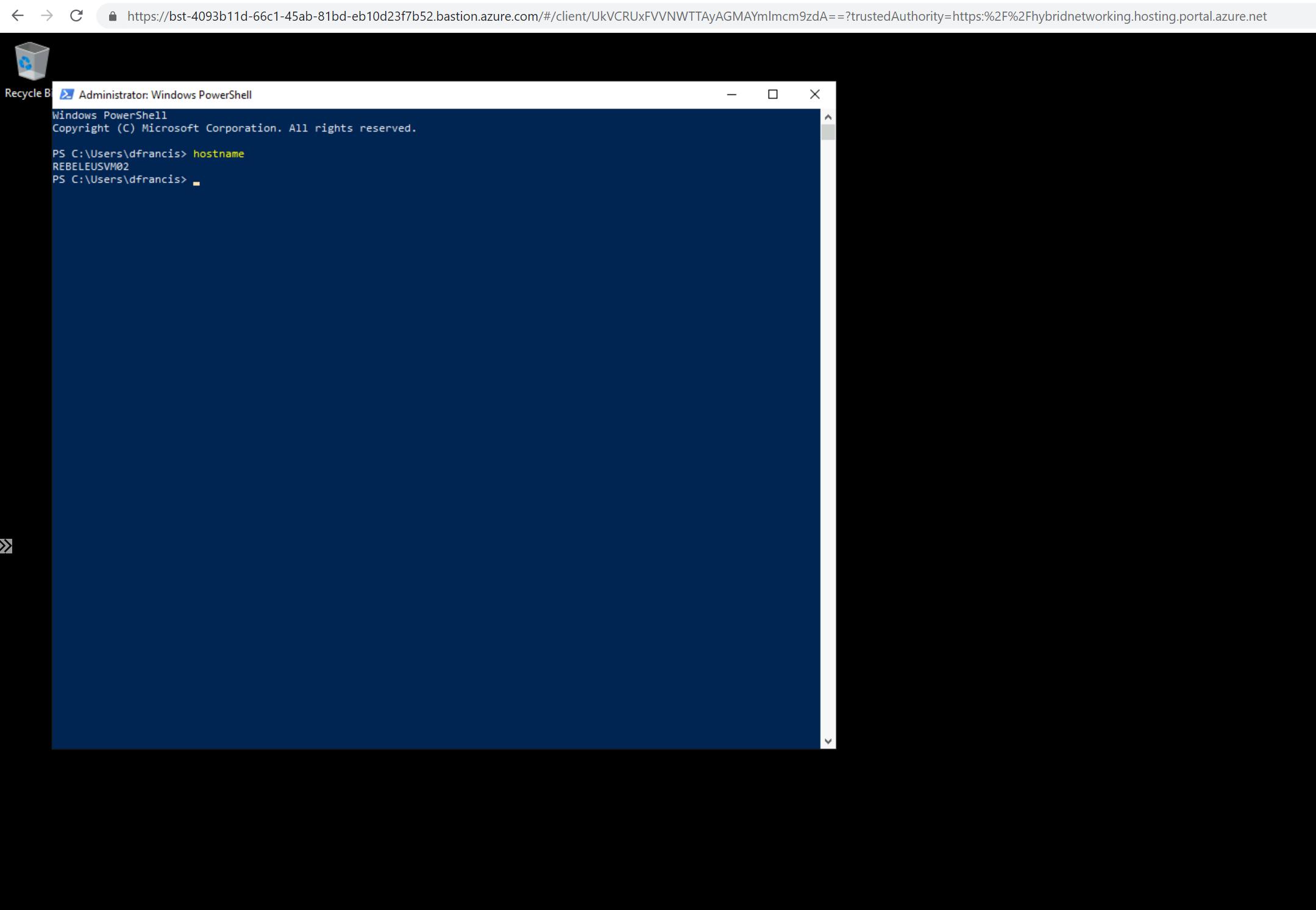 Verify Azure Bastion connection to REBELEUSVM02