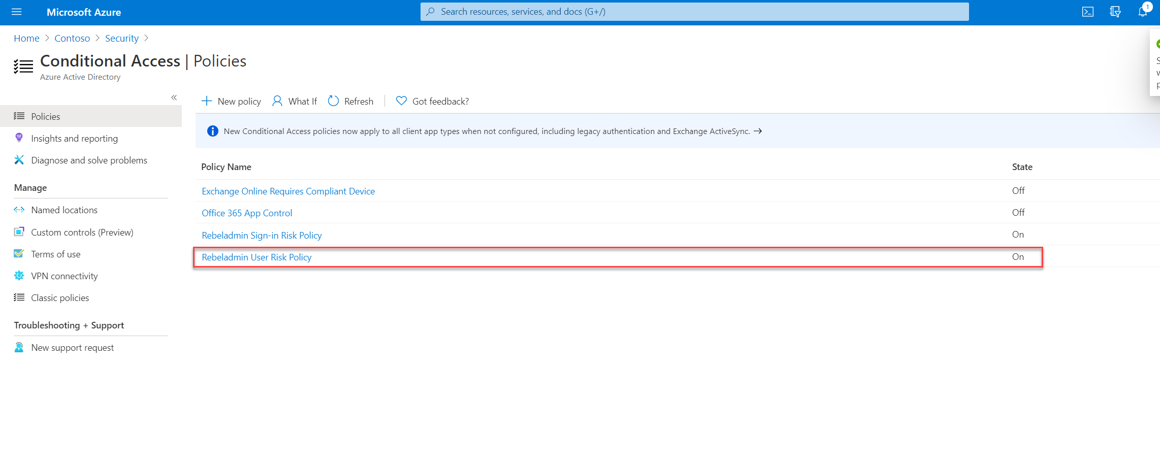 conditional access policy status
