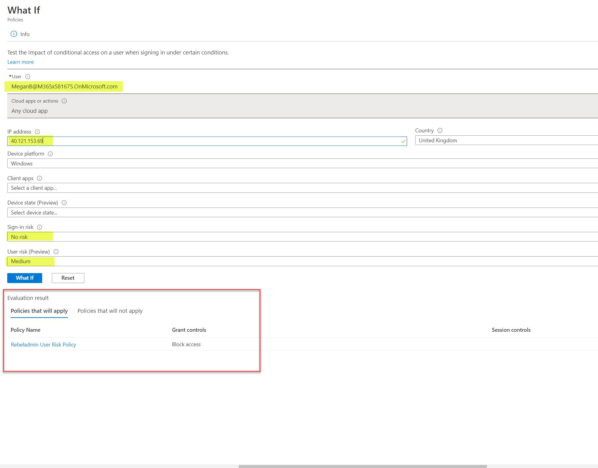 conditional access what if tool results