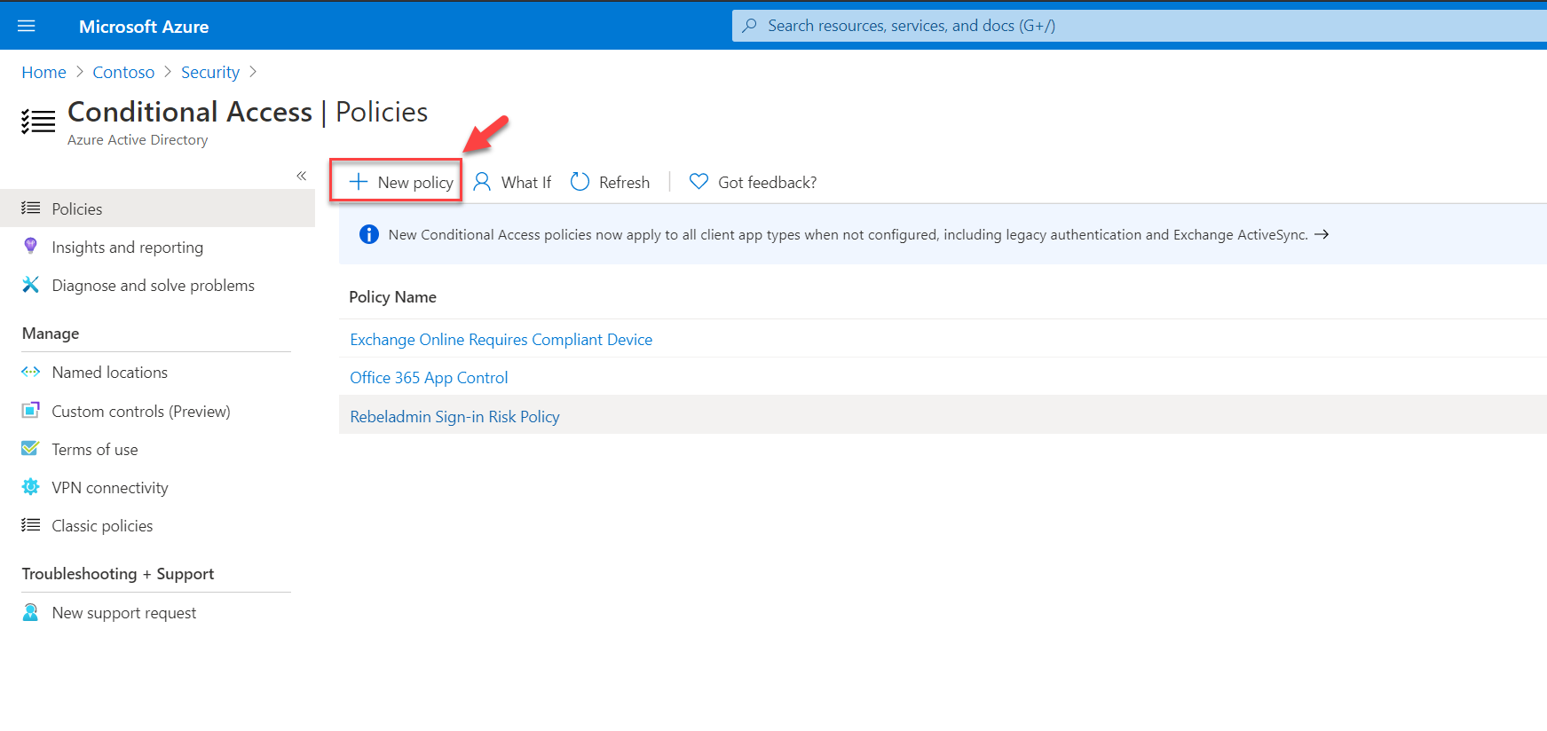 Create new conditional access policy