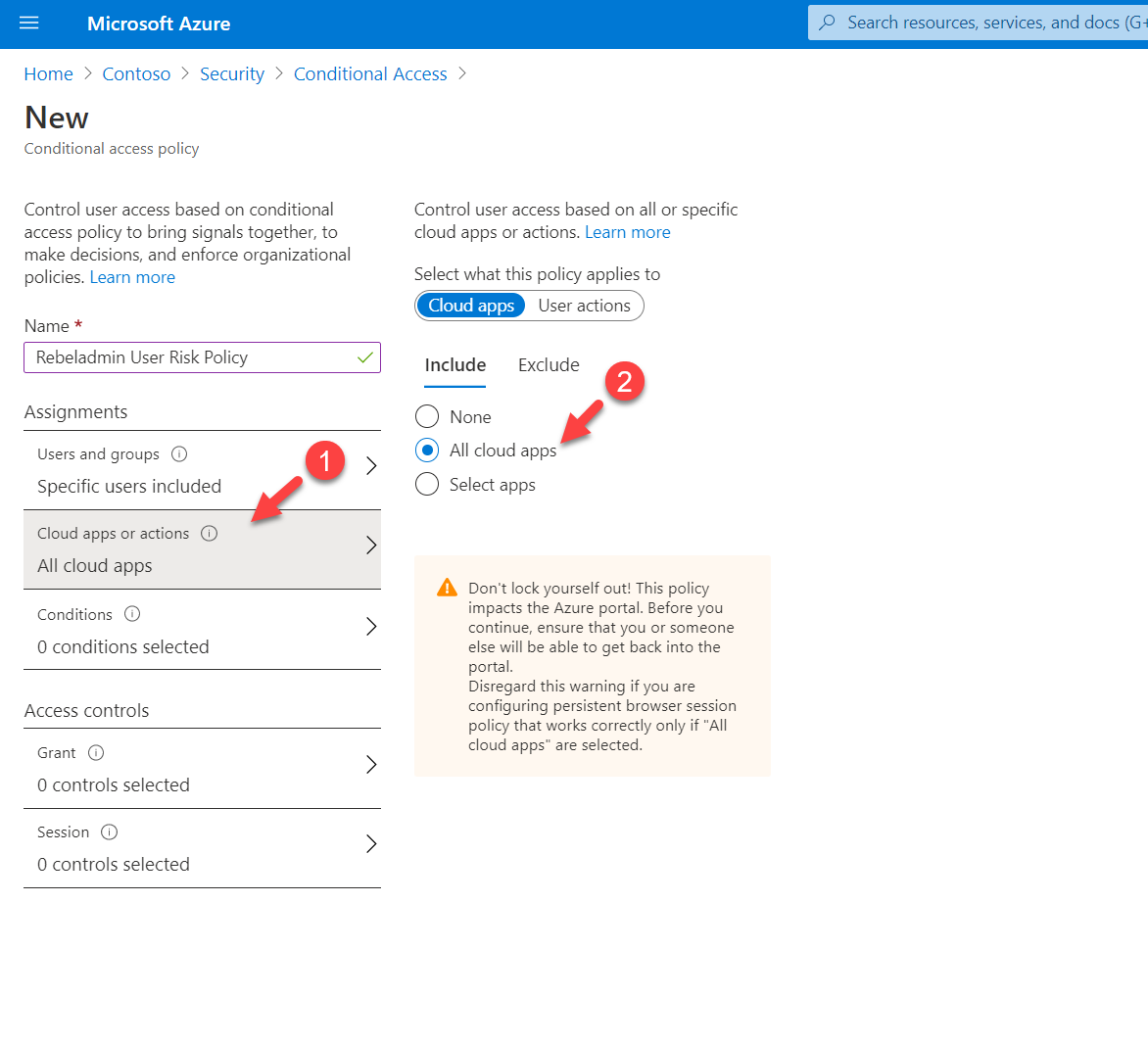 Conditional Access policy cloud app or action settings
