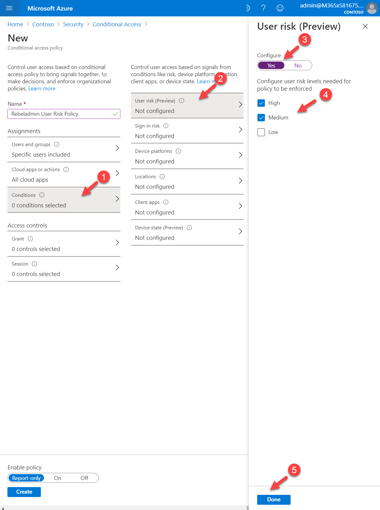Conditional access policy condition settings