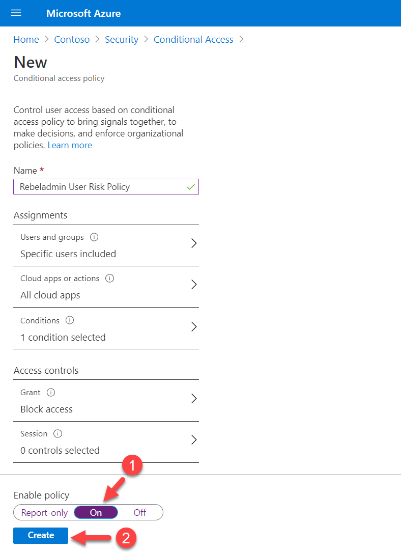 enable conditional access policy