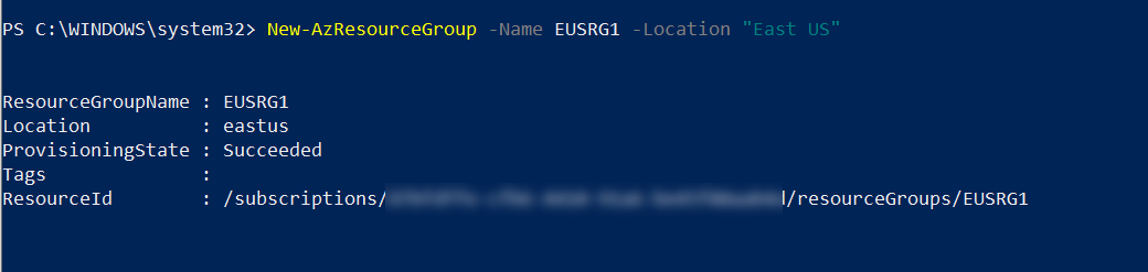 Create Azure Resource Group