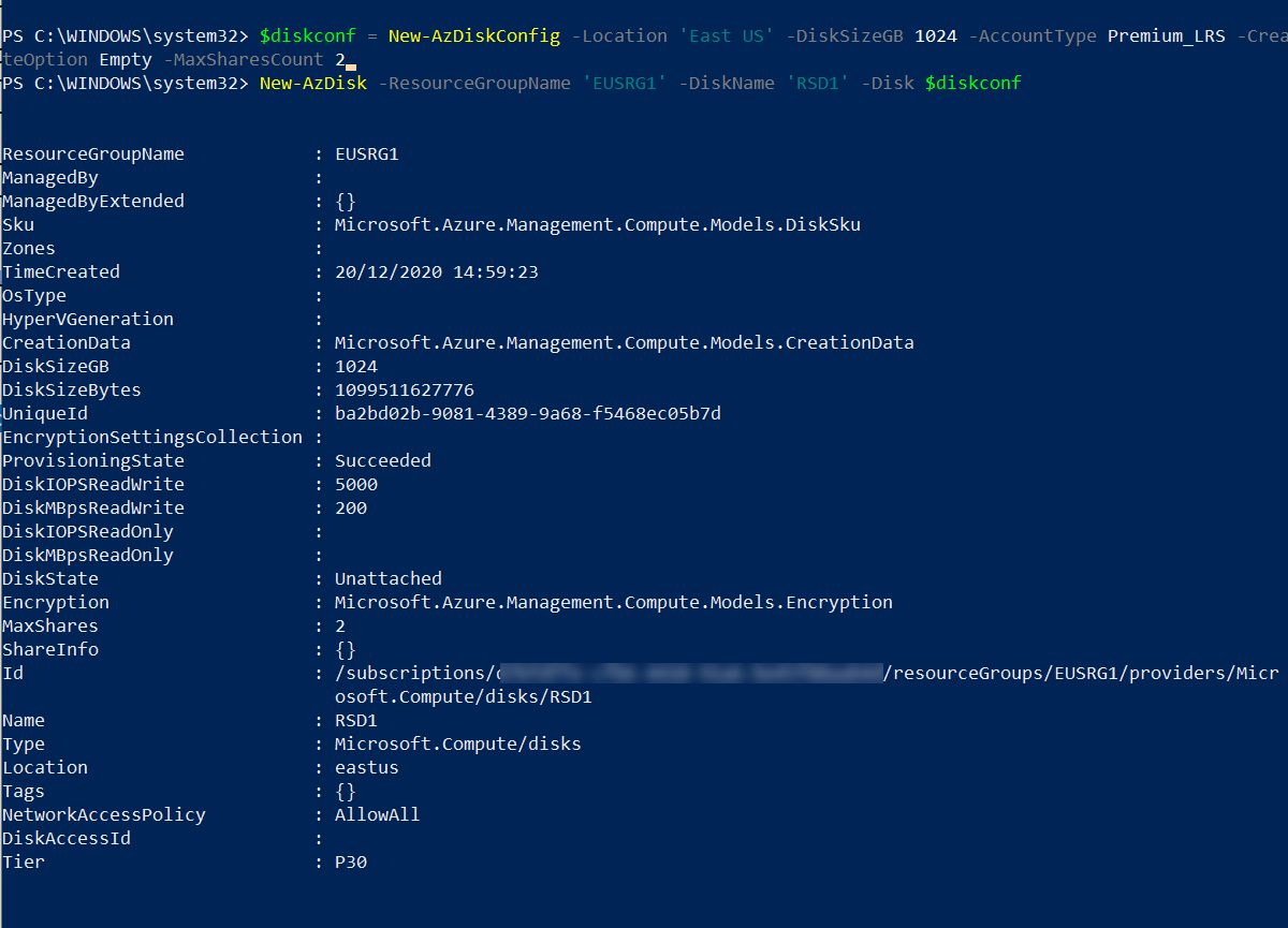 Create Azure Shared Disk