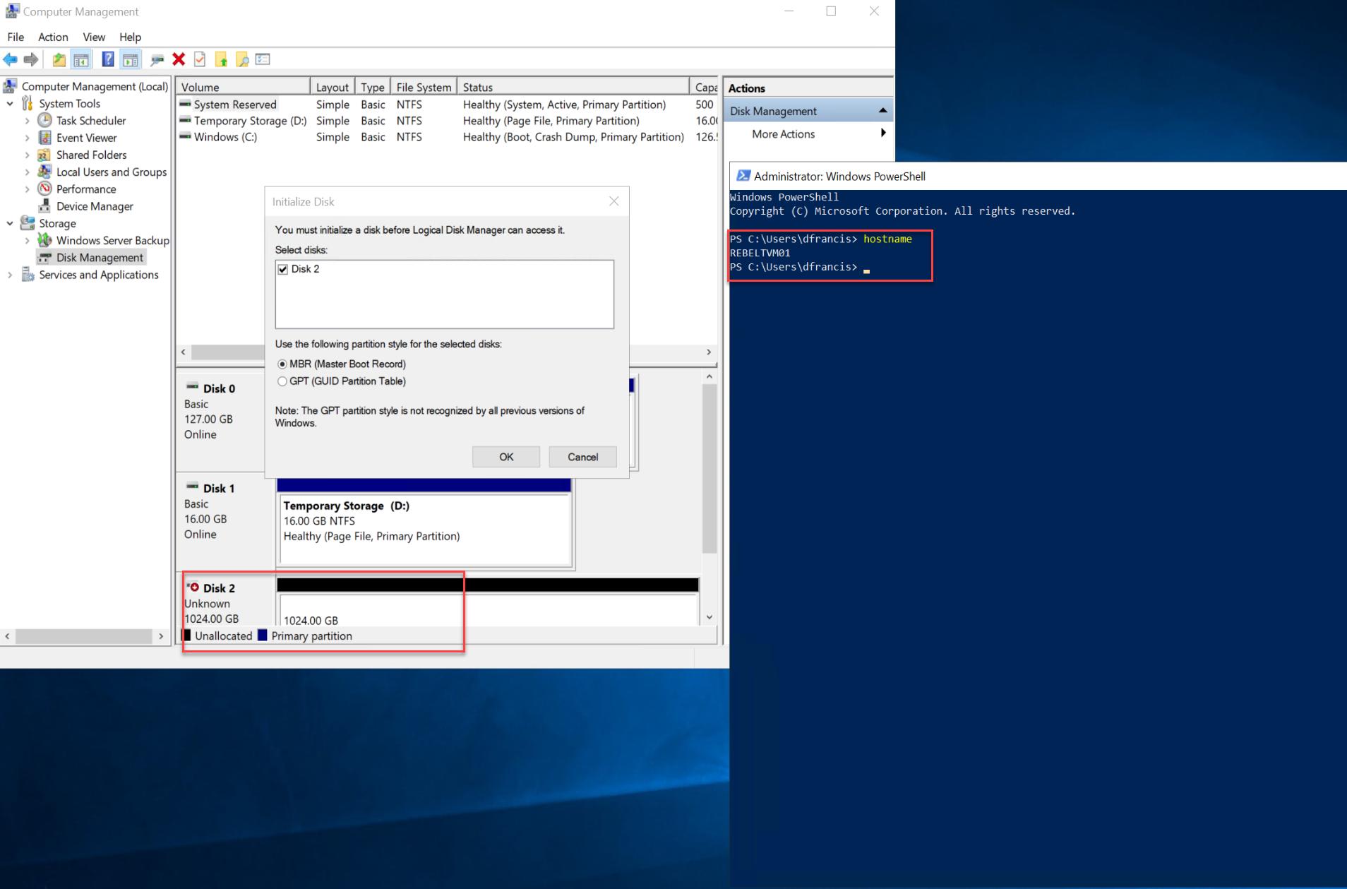 Computer Management settings for REBELTVM01