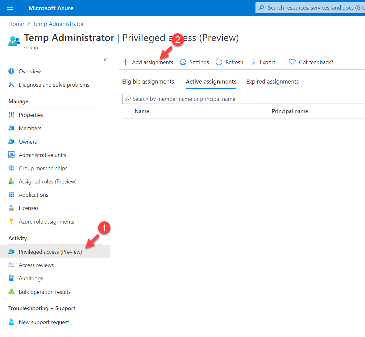 Add assignments to Privileged access