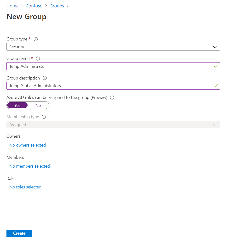 New Azure AD Group Settings