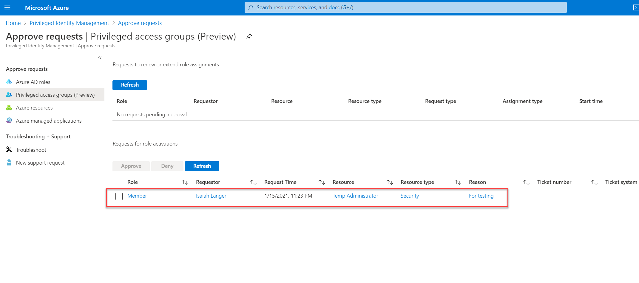 Privileged Identity Management : Request from user