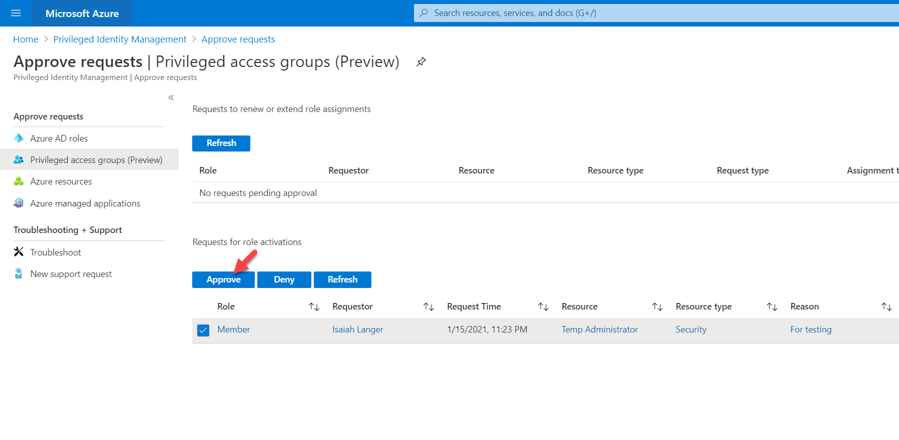 Privileged Identity Management : Approve the request for group membership