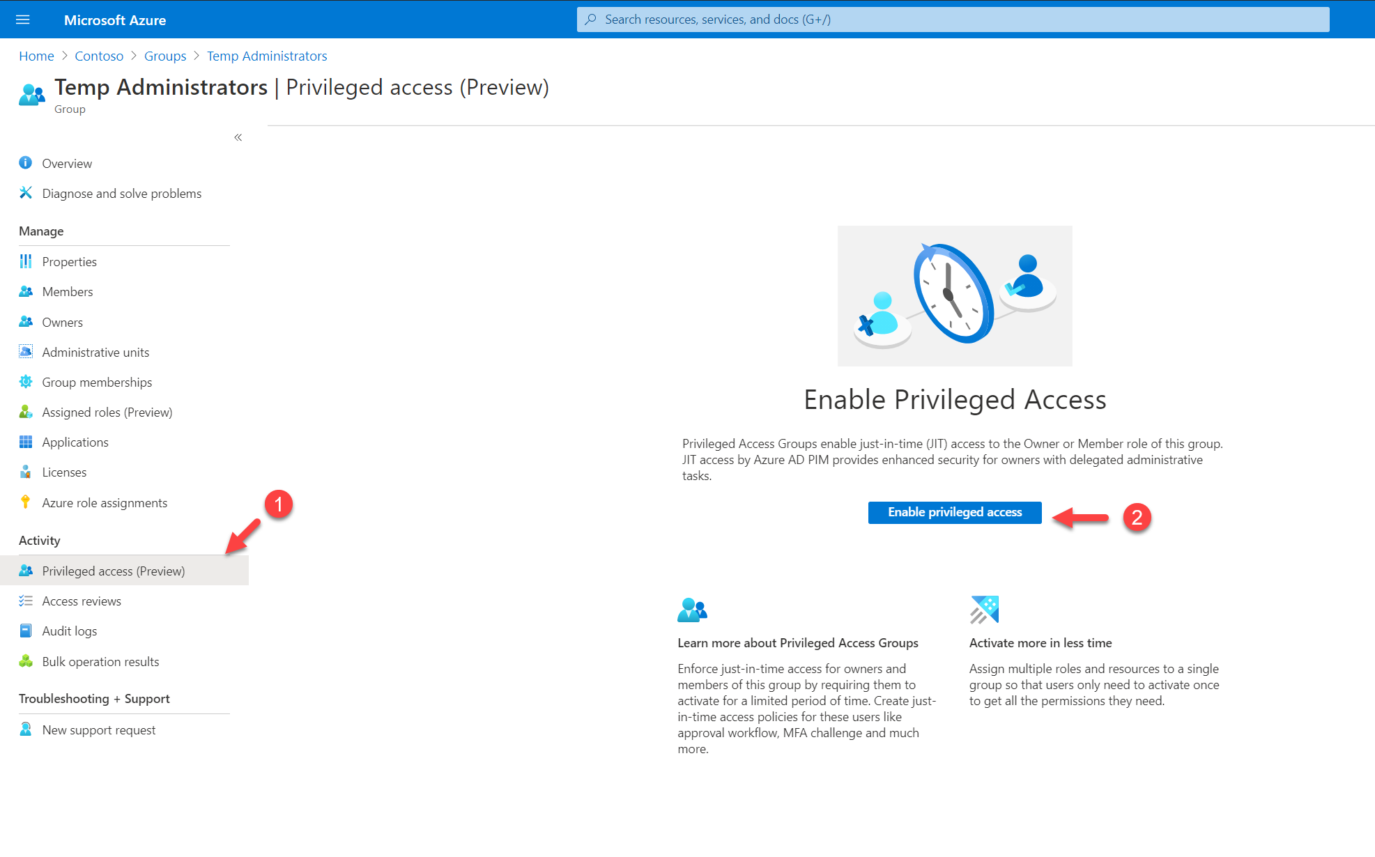 Enable privileged access for a group