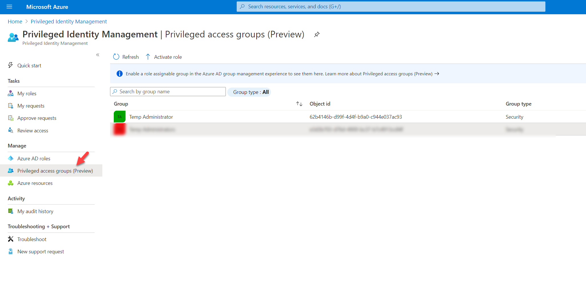 Privileged access groups (Preview) option for Azure AD PIM