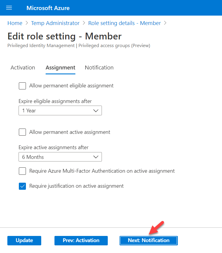 New role settings values for members : Assignment