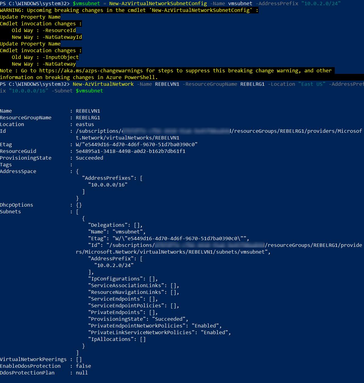 Create Azure VNet