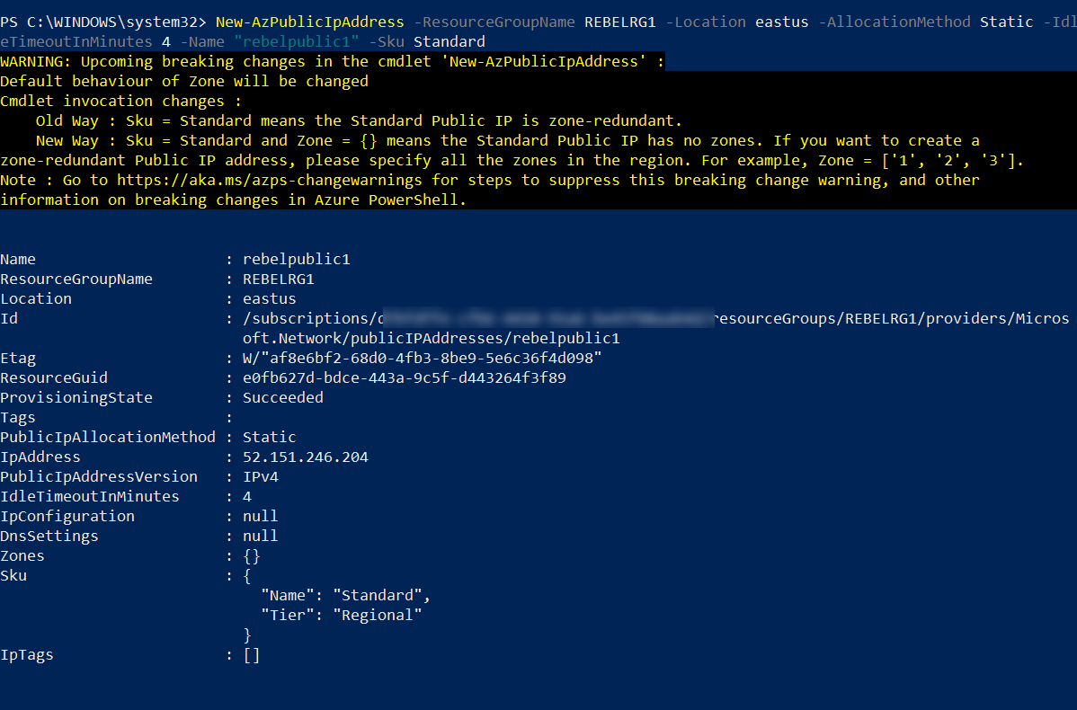 Create Azure Public IP Address