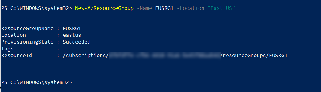 Azure Resource Group in East US Region