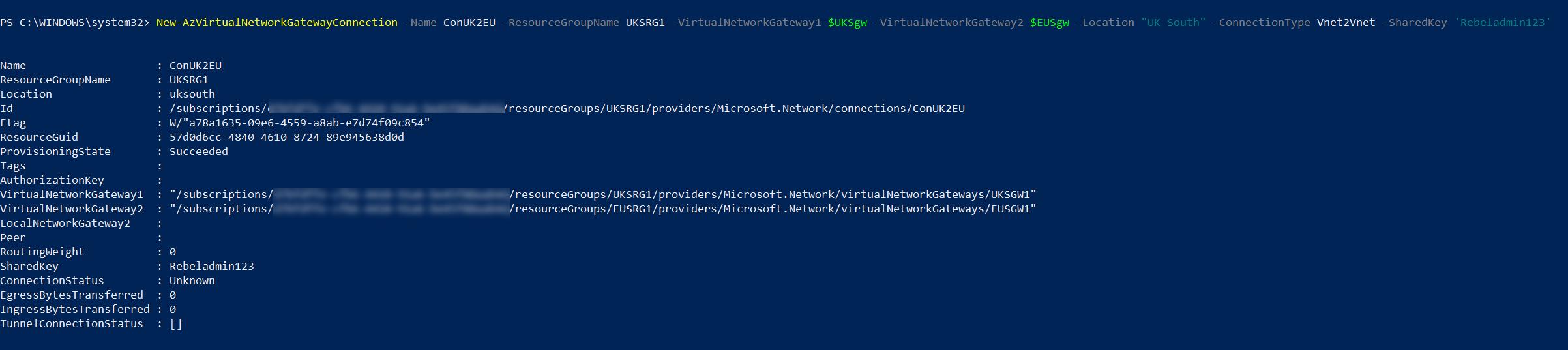 Azure VNet-to-VNet connection from UKSVnet1 to EUSVnet1