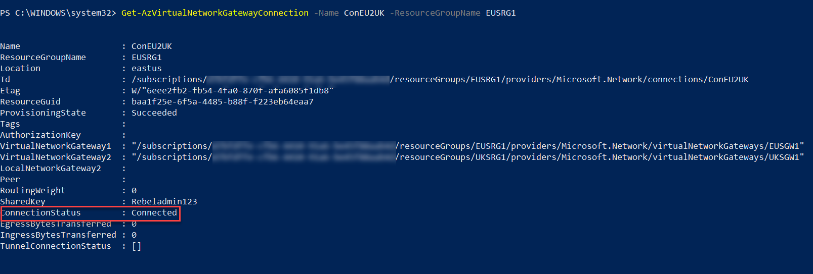 Verify Connection from UKSVnet1 to EUSVnet1