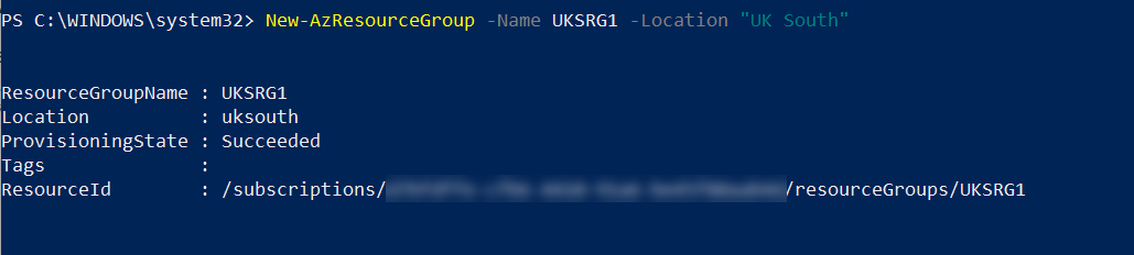 Azure Resource Group in UK South Region