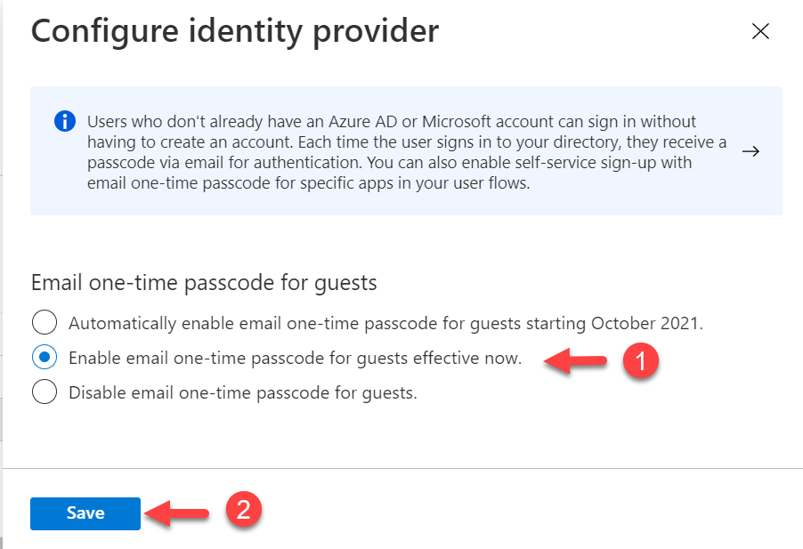 Enable email one-time passcode for Azure AD B2B Users