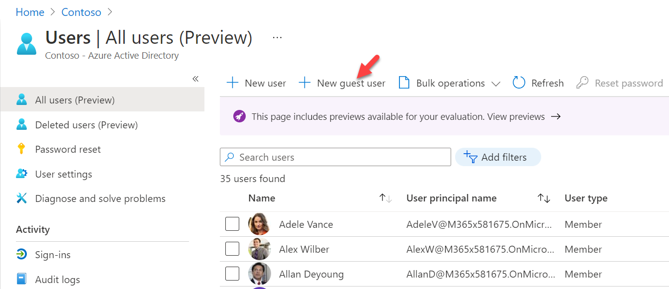 Create New Azure AD B2B Guest User