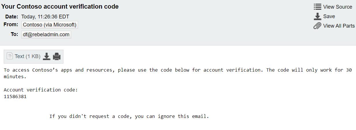 Azure AD B2B user OTP Code