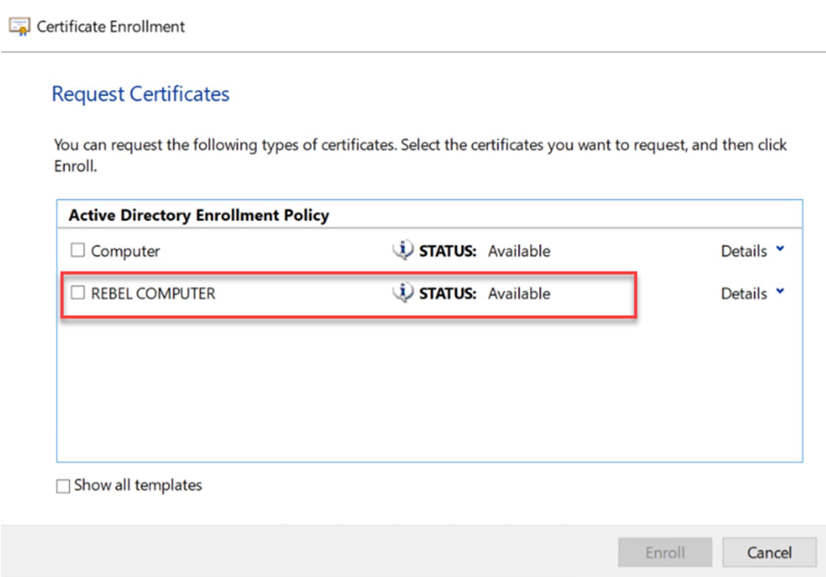 Certificate Template created on Windows Server 2008 R2 CA
