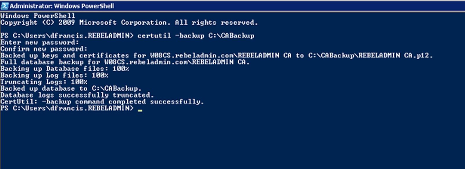 Windows Server 2008 R2 CA Backup