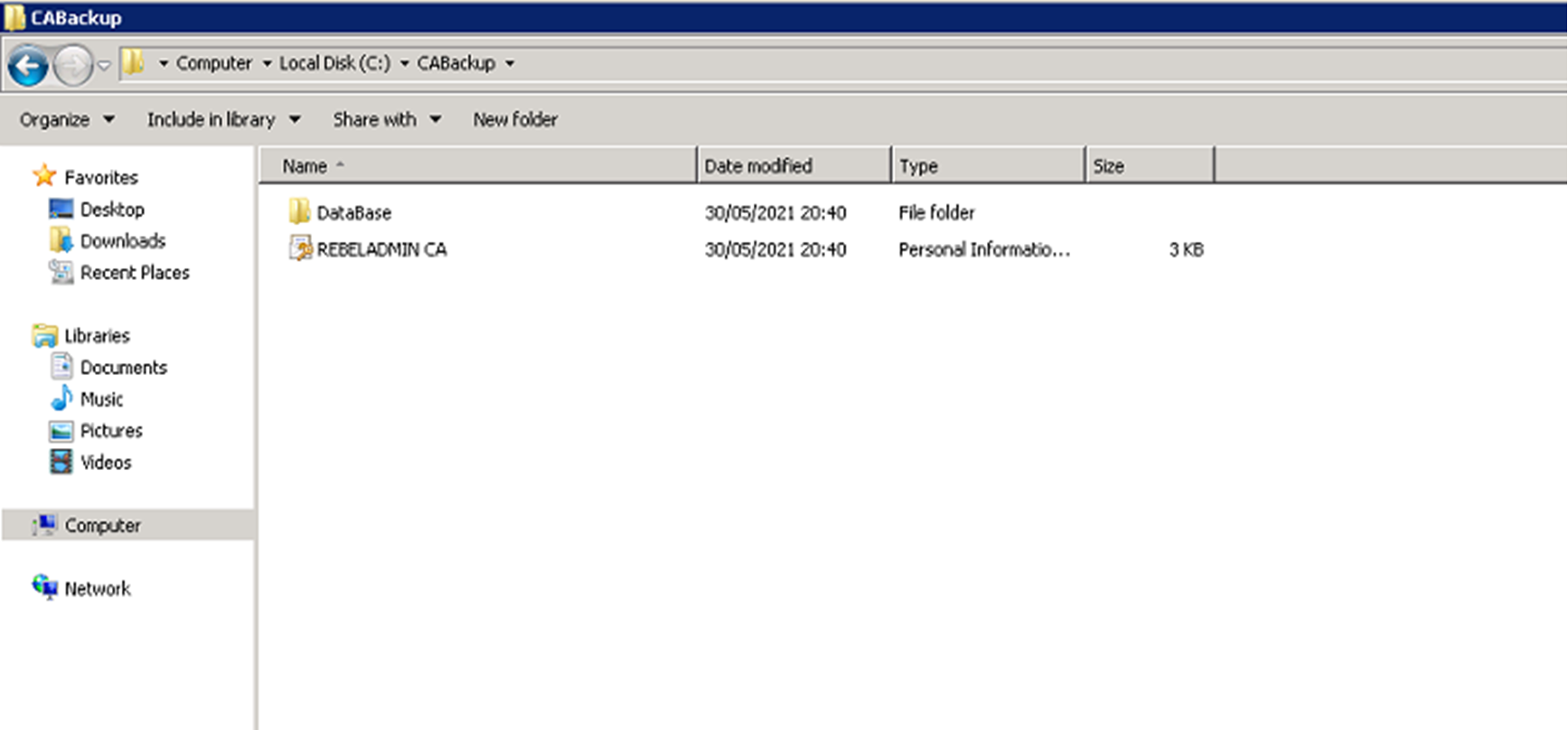 Windows Server 2008 R2 CA Backup Content