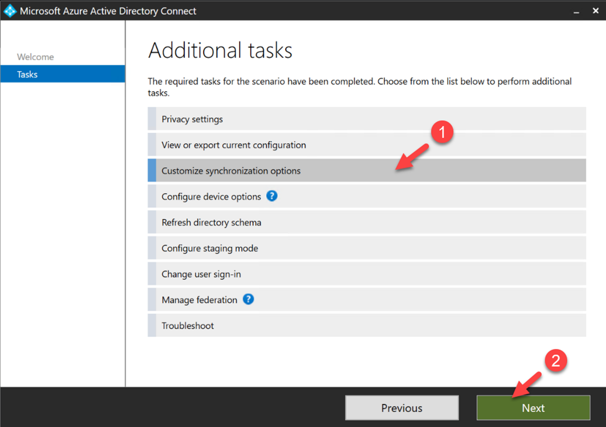 Azure AD Connect sync options