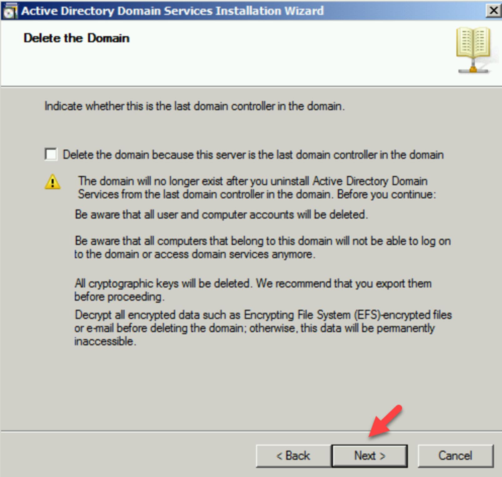Delete the last domain controller