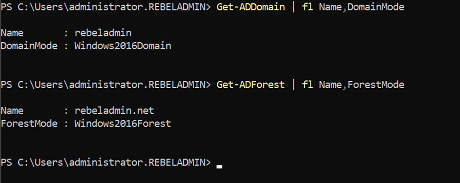 verify new domain and forest functional levels